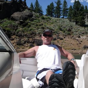 Chillin out in the boat at Frenchmans Reservoir in Northern California. 26 miles from our Northern Nevada driveway to the launch ramp and a beautiful