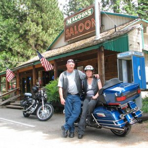 Me and my wife on a ride up through Pollock Pines, Ca and the surrounding area.  Magoons Saloon is a popular stop for all sorts of bike riders.