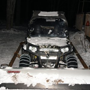 RZR With 7' Plow and Tire chains