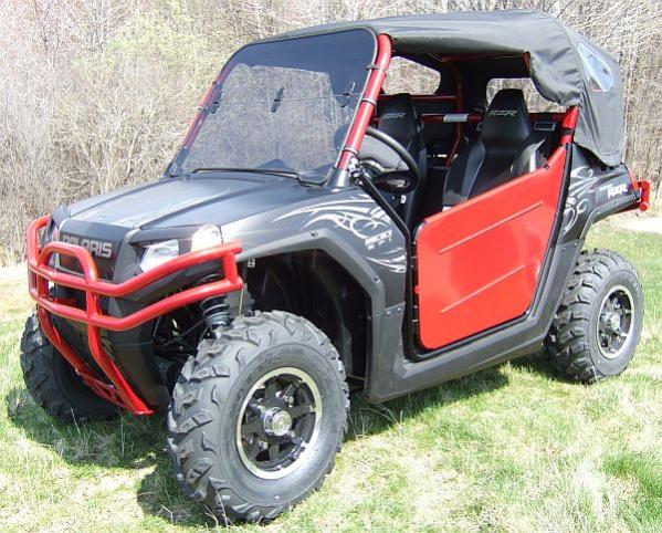 Unisteer UTV parts in red. Also shown is our windshield and soft top cover.
